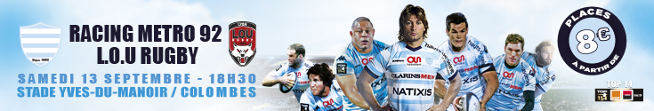 banni�re Racing metro vs LOU - samedi 13