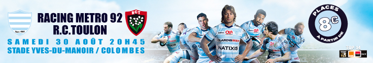 banni�re Racing metro vs Toulon - samedi 30 aout 20h45